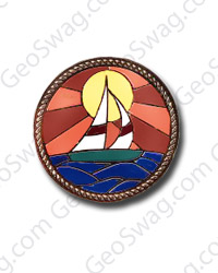 Sail Boat Scene Pin Badge - Gold Finish